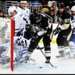 Malkin scores against the Toronto Maple Leafs